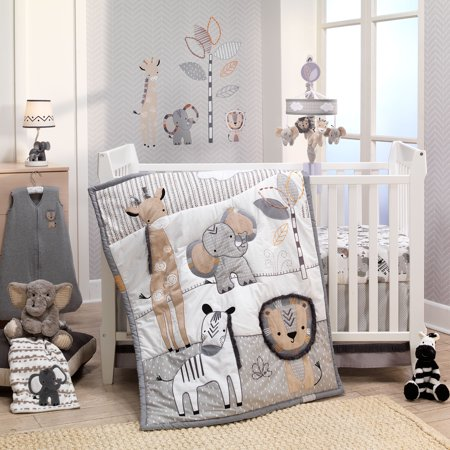 Lambs & Ivy Jungle Safari Gray/Tan/White Nursery 6-Piece Baby Crib Bedding Set