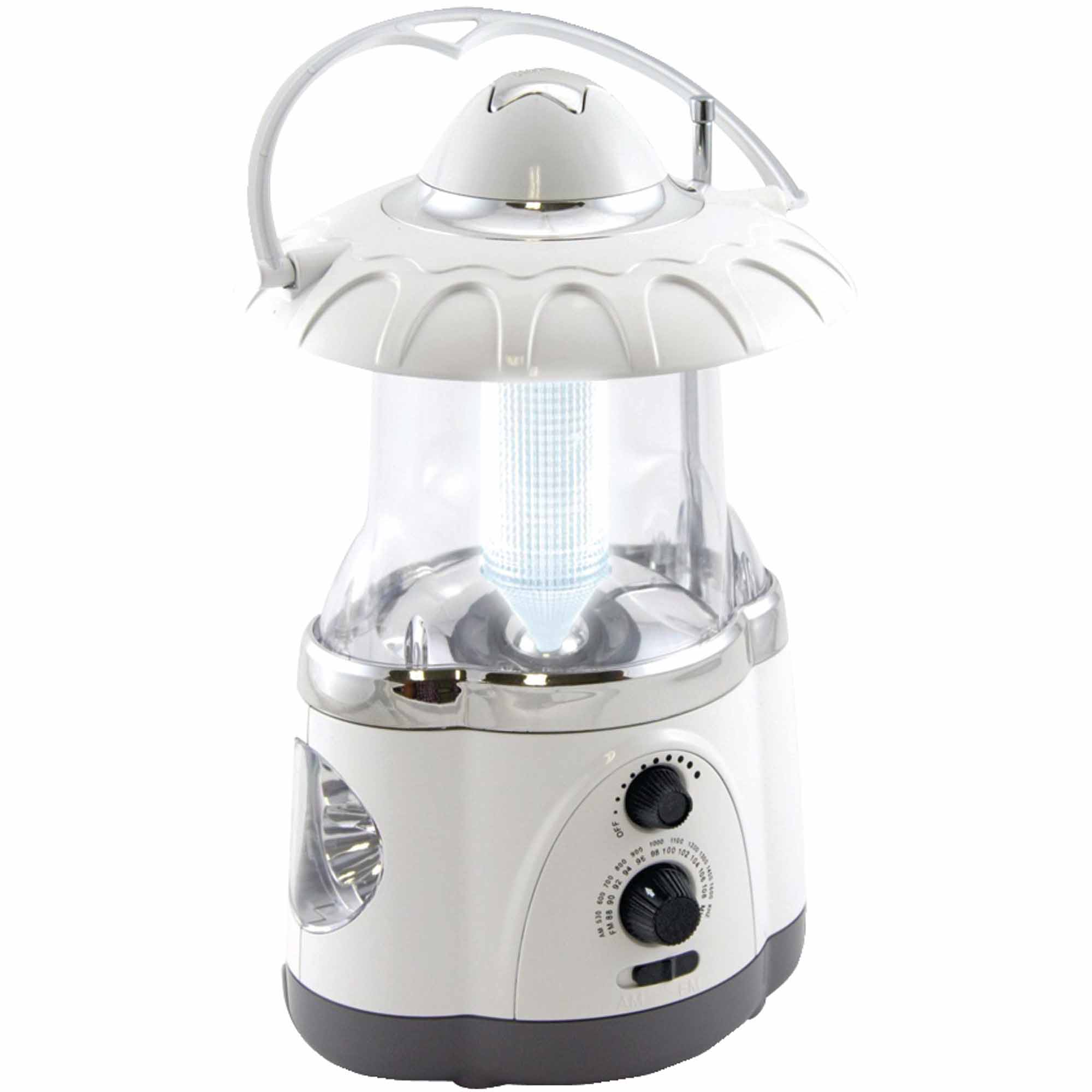 Northpoint 190475 12-LED Lantern with 4-LED Flashlight and AM/FM Radio, White