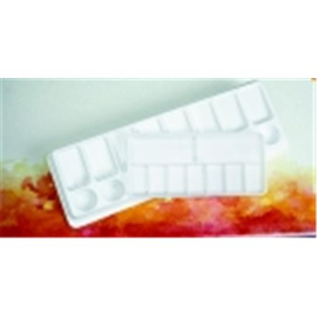 Jack Richeson Plastic Slant Palette, 4 X 12 in, 8 Wells, White