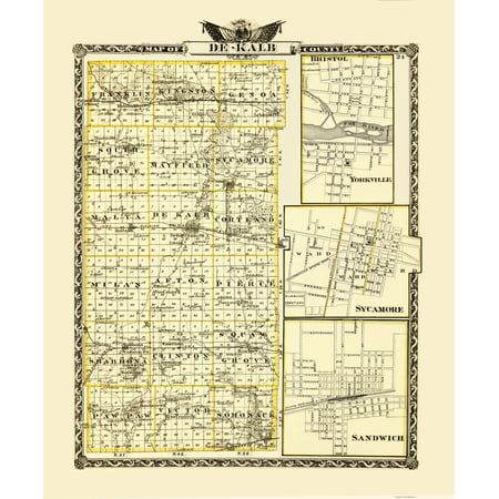 Old County Map   Dekalb Illinois   Warner 1870   23 X 27 88