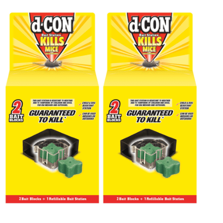 (2 pack) d-CON Refillable Corner Fit Mouse Poison Bait Station, 1 Trap + 2 Bait (Best Way To Trap Mice In Attic)