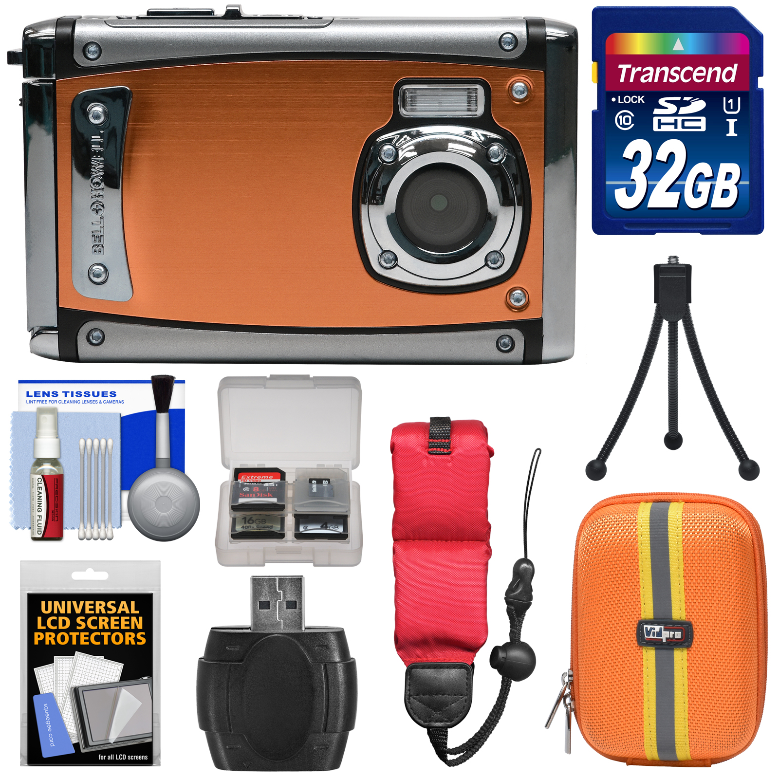 Bell & Howell Splash3 WP20 HD Shock & Waterproof Digital Camera (Black) with 32GB Card + Case + Float Strap + Tripod Kit