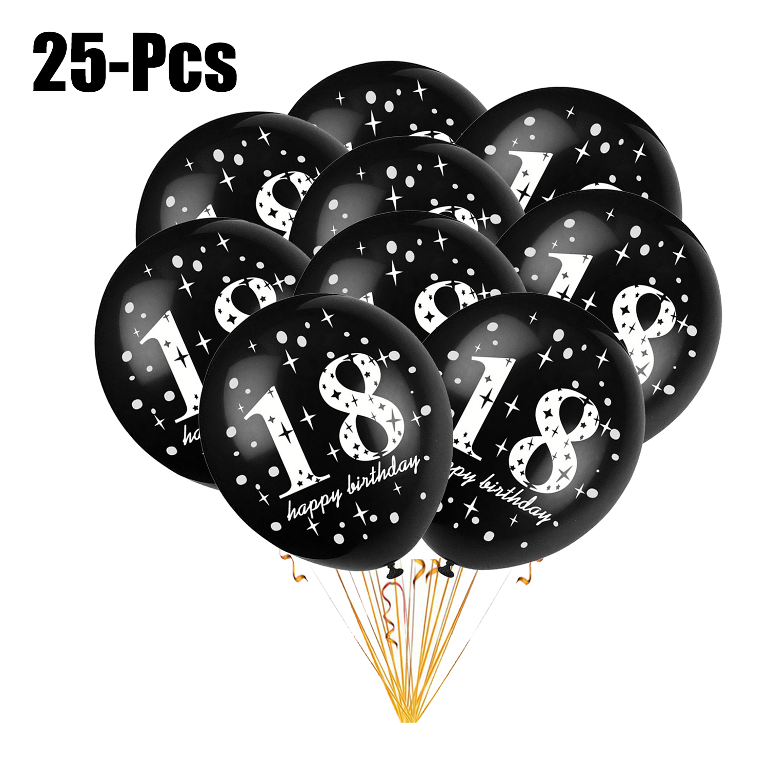 25PCS 12in Latex Balloons,Justdolife Thickened 18th Happy Birthday Balloons Decorative Balloons Party Decor Balloons Party Accessories Supplies