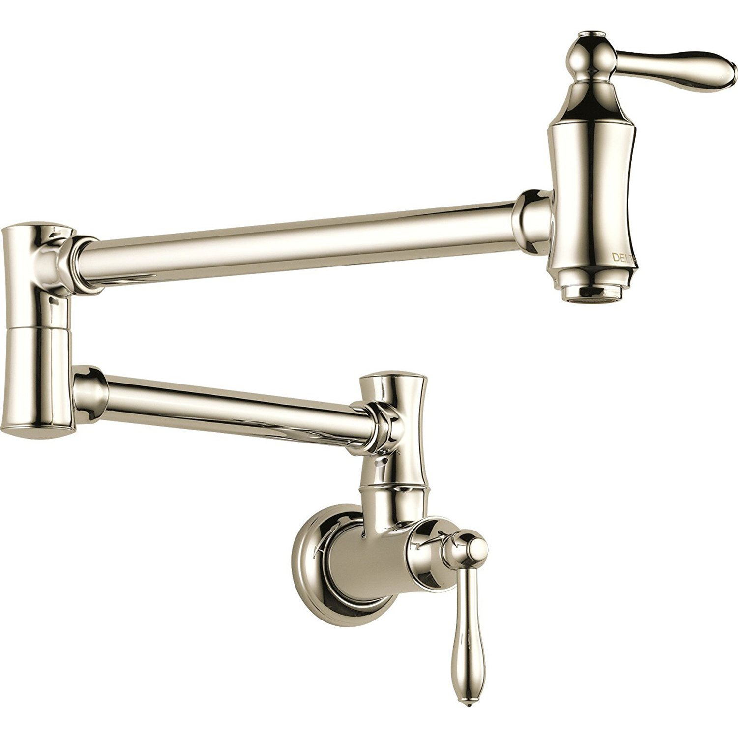 Delta Faucets Victorian Home Pot Filler Wall Faucet, Polished Nickel 1177LF-PN