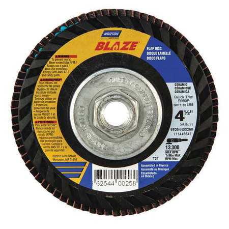 80 Grit Fiberglass Backing Norton Charger R822 High Density Abrasive Flap Disc Type 27 4-1//2 Dia. Threaded Hole Zirconia Alumina Pack of 1