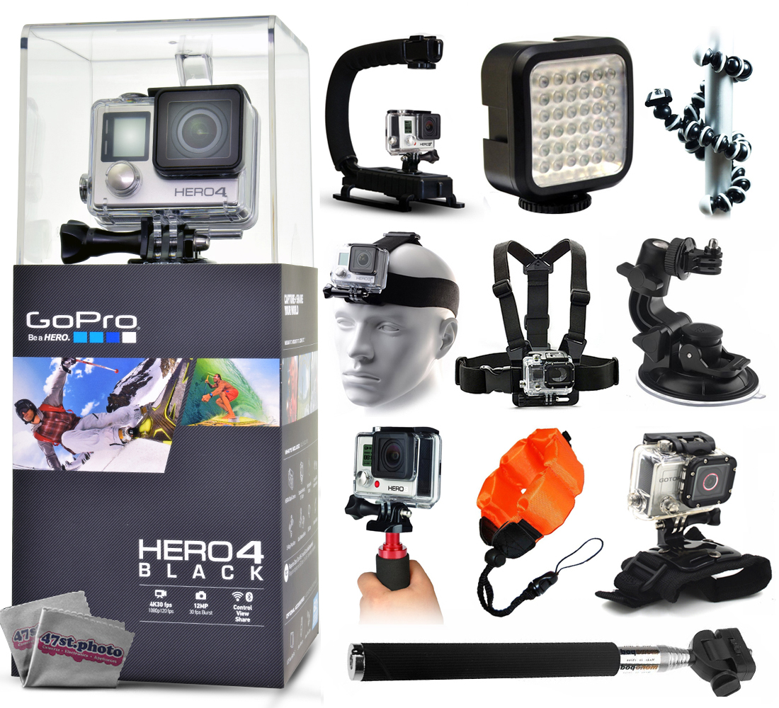 GoPro Hero 4 HERO4 Black CHDHX-401 with Opteka X-Grip + LED Light + Flexible Tripod + Chest Harness + Headstrap + Car Suction Cup + Handgrip Stabilizer + Floaty Strap + Selfie Stick + Wrist Glove GPH4BNEWK18