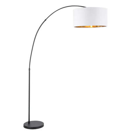Salon Contemporary Floor Lamp With Black Base And White Shade Gold Accent By Lumisource