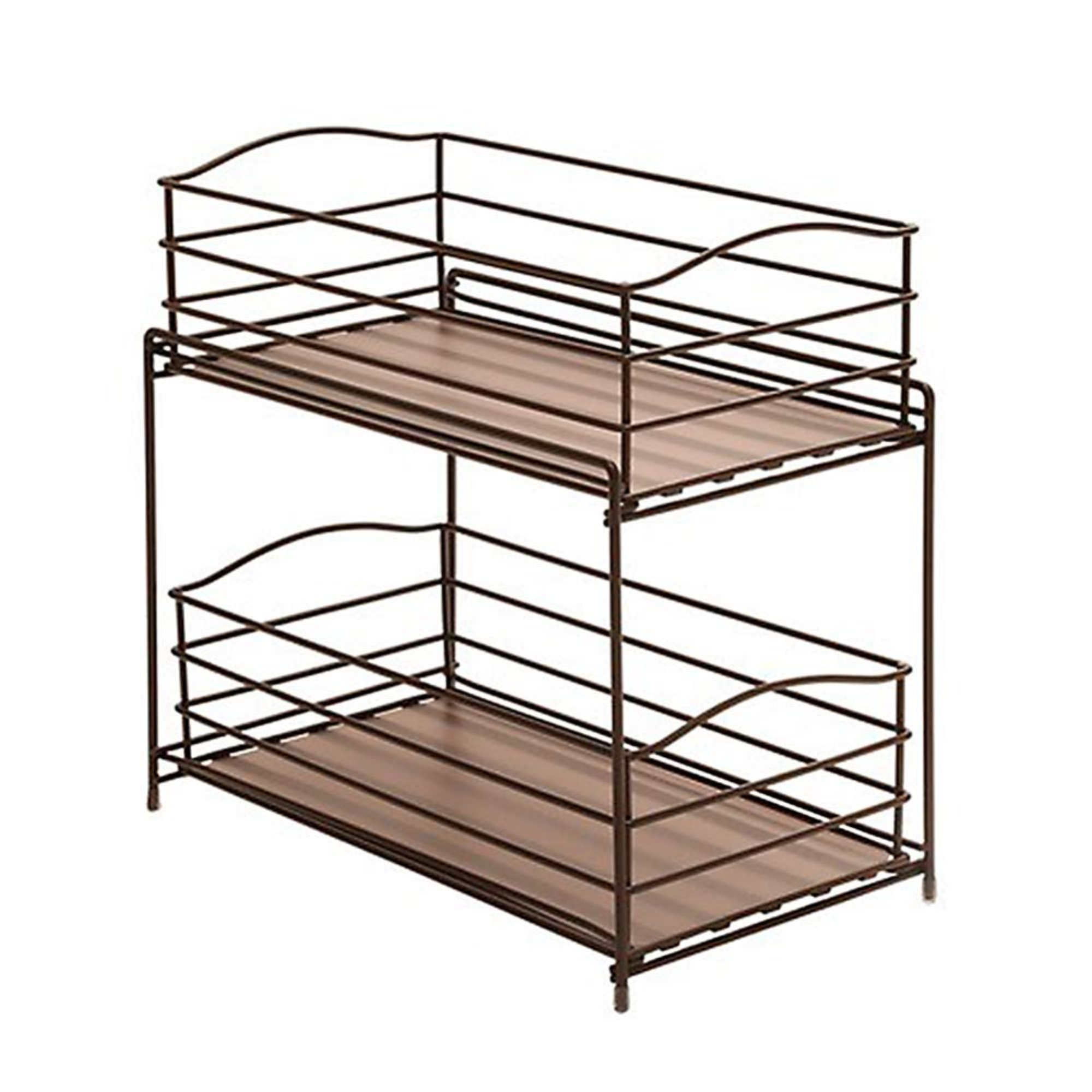 Seville Classics 2 Tier Sliding Basket Kitchen Cabinet
