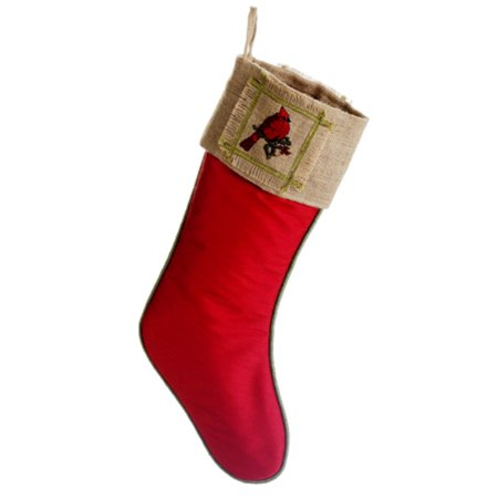 19 red cardinal holly leaf country burlap christmas stocking - Burlap Christmas Stocking