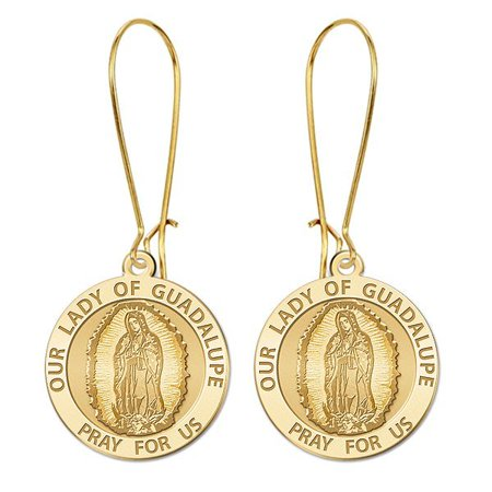 Our Lady of Guadalupe Earrings  - 15mm - 14K Yellow Gold