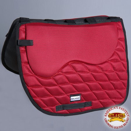 TA303F- HILASON ENGLISH DRESSAGE SADDLE PAD WITH MEMORY FOAM AND ANTI-SLIP - RED