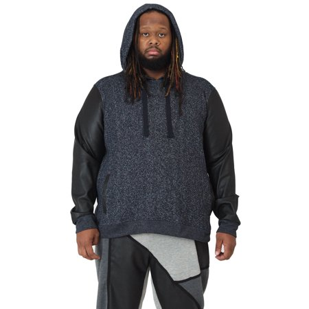 Vibes Big Men Navy Blue Marled Yarn Fleece Pull Over Hoody Sweatshirt PU Sleeves All Over Logo Hoody