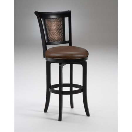 Cecily Swivel Counter Stool, Distressed Black Honey Finish (Black Finish Counter)