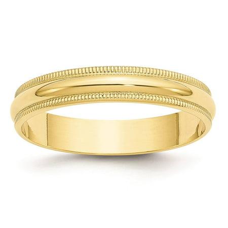 Yellow Gold Light Milgrain Band (10k Yellow Gold 4mm Lightweight Milgrain Half Round Wedding Band Size 6.5 )