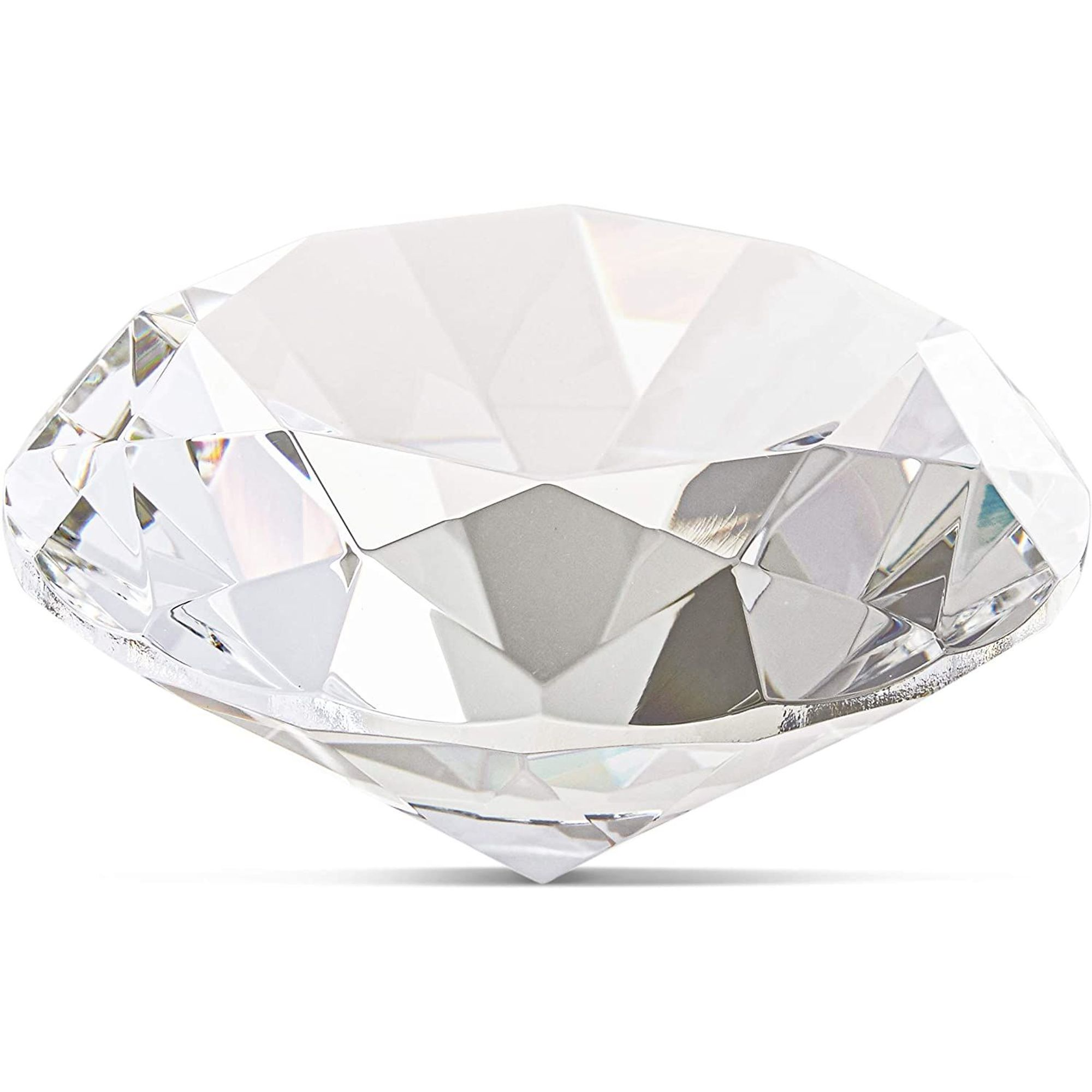 Amber Crystal Glass Diamond Shaped Decoration 100mm Jewel Paperweight,Gift Decoration Idea for Christmas