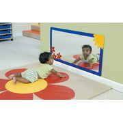 Sunny Meadow Mirror with Blue Frame