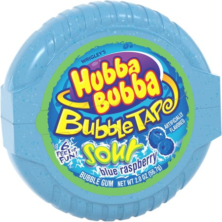 Hubba Bubba Sour Blue Raspberry Bubble Gum Tape, 2 ounce (Pack of