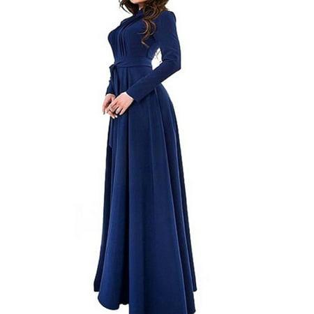 7b3b0cfca19d OUMY - OUMY Women Long Sleeve Pleated Evening Party Maxi Dress - Walmart.com