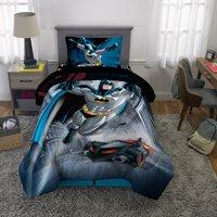 DC Comics Batman Bed in a Bag Bedding Set, Soft Microfiber, Gray/Blue, 4-Piece Twin