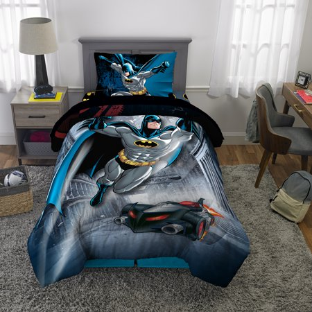 DC Comics Batman Bed in a Bag Bedding Set, Soft Microfiber, Gray/Blue, 4-Piece Twin (Dolphin Twin Bed Set)