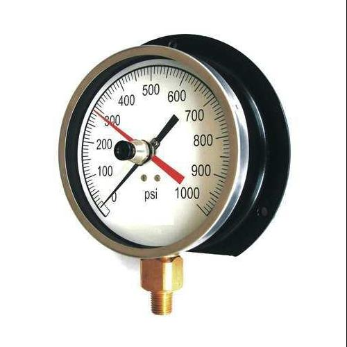 11A498 Pressure Gauge, Max. Reading, 4-1/2 In