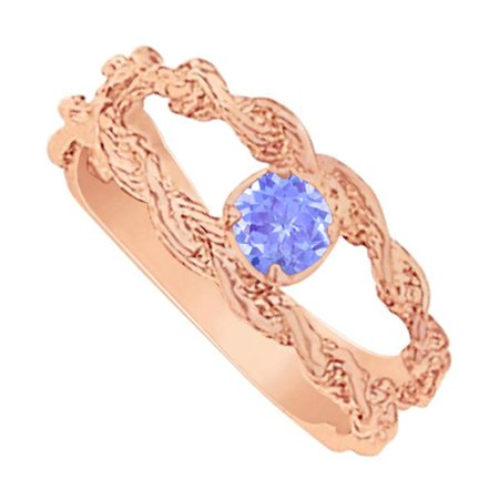 Rose Gold Vermeil Ring (Fine Jewelry Vault UBUNR81381AGVRTZ Gorgeous Tanzanite Mother Ring in Rose Gold Vermeil )