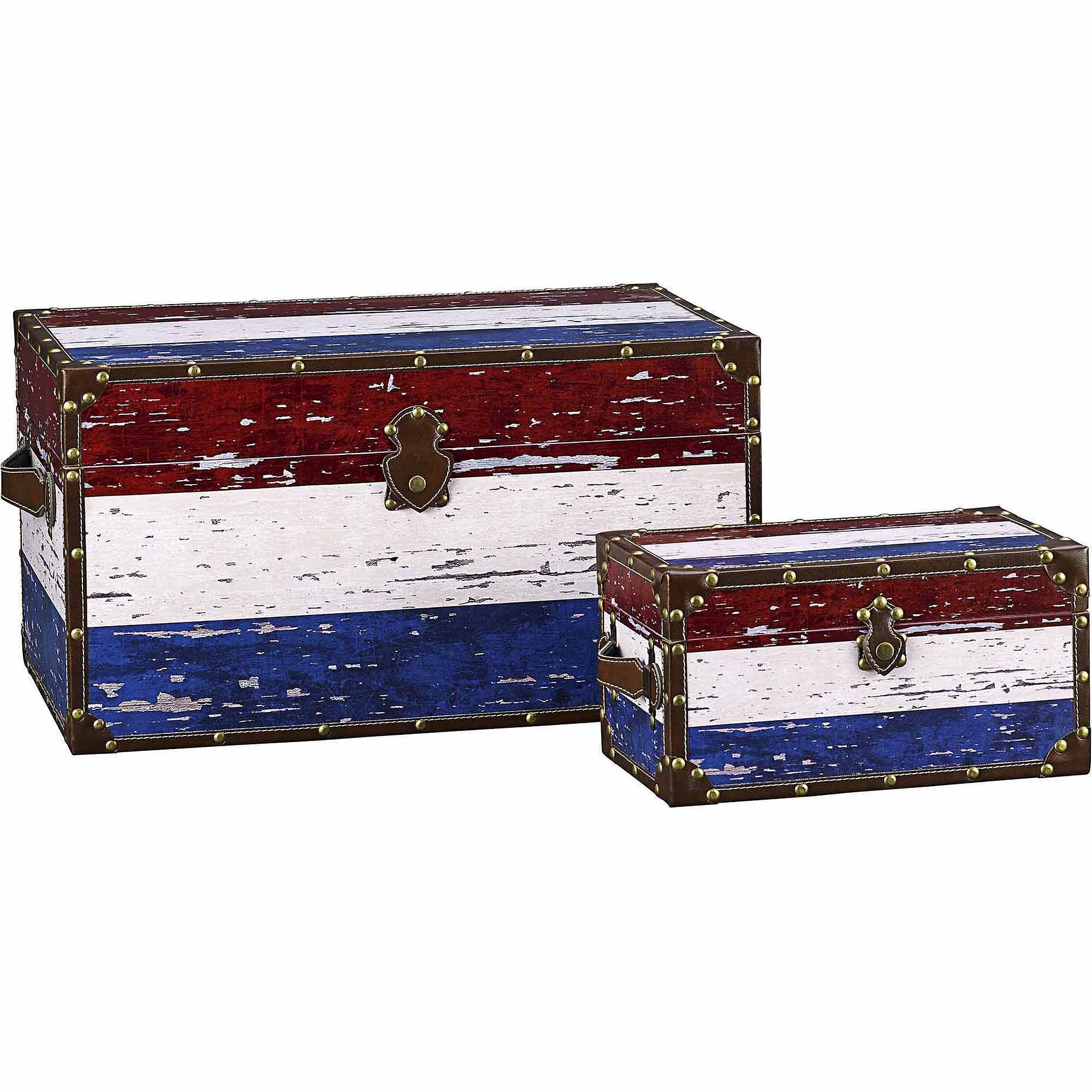 Household Essentials Decorative Storage Trunk, American Flag Design, Set of 2
