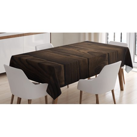 Chocolate Tablecloth, Vintage Rustic Illustration of Detailed Hardwood Floor Design Carpentry Themed Pattern, Rectangular Table Cover for Dining Room Kitchen, 60 X 90 Inches, Brown, by Ambesonne - Rustic Table Cloth