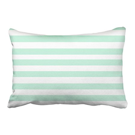 WinHome Decorative Simple Design Cheap Pillowcase Stripe Horizontal Mint Green Throw Pillow Size 20x30 inches Two Side