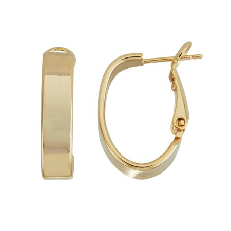 X & O 14KT Gold Plated 5mm Small Rectangle Tube Oval Hoop Earring ()
