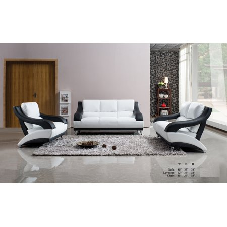 Classic unique modern vance bonded leather white black - Unique living room furniture ...