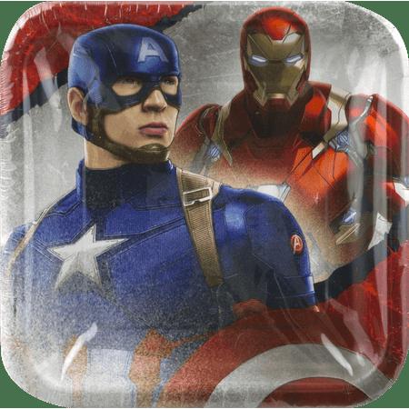 Captain America: Civil War Party Paper Square Plates, 8ct - Captain America Party