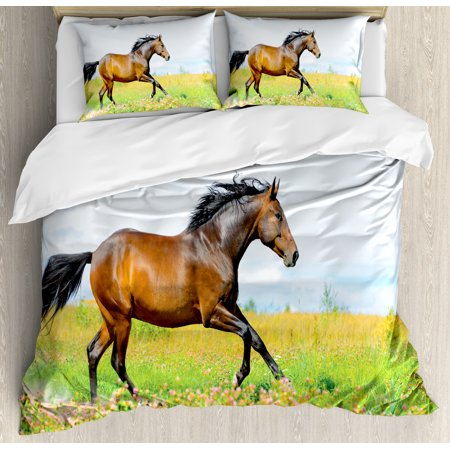 Equestrian Bedding - Equestrian Duvet Cover Set, Horse Runs Gallop on Flower Meadow Rural Freedom Animal Picture, Decorative Bedding Set with Pillow Shams, Baby Blue Apple Green Brown, by Ambesonne