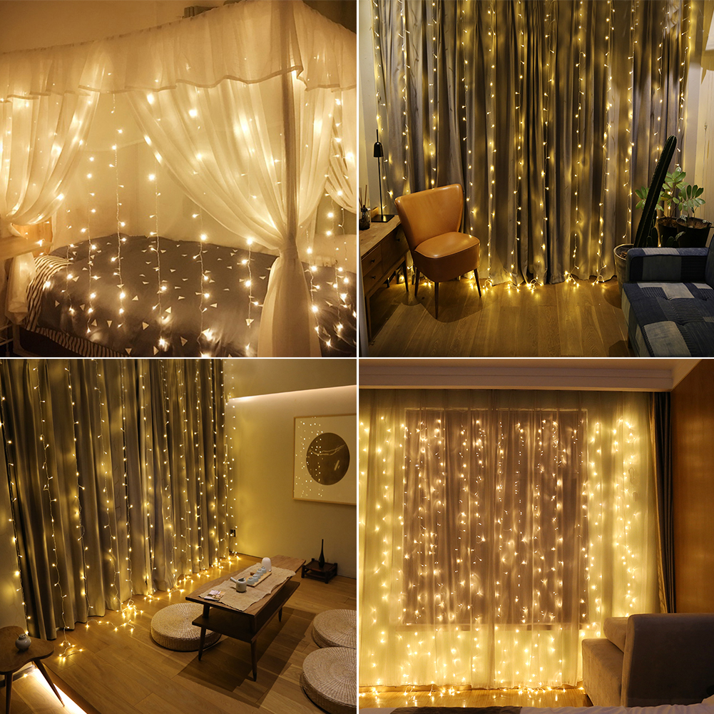 WALFRONT 9.8ft x 9.8ft 300LED Window Curtain String Fairy ...