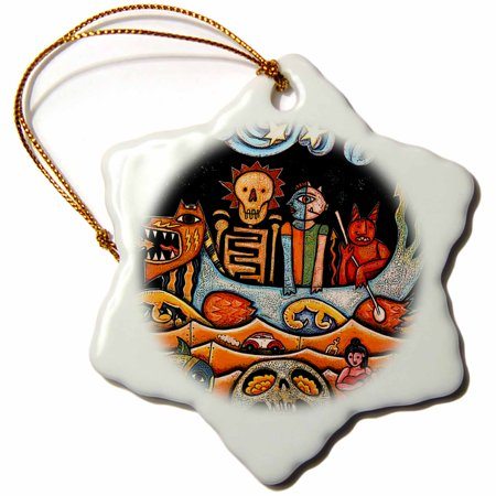 3dRose The Devil s Dream folk art skulls mexican colorful surrealism - Snowflake Ornament, 3-inch Colorful Mexican Folk Art