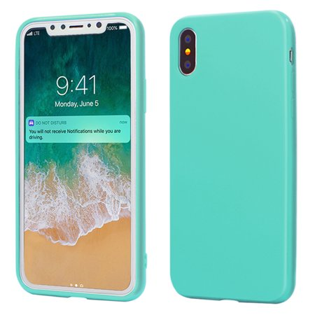 - iPhone X Case, ANLEY Candy Fusion Series - [Shock Absorption] Classic Jelly Silicone Case Soft Cover for Apple iPhone X (Turquoise) + Free Ultra Clear Screen Protector