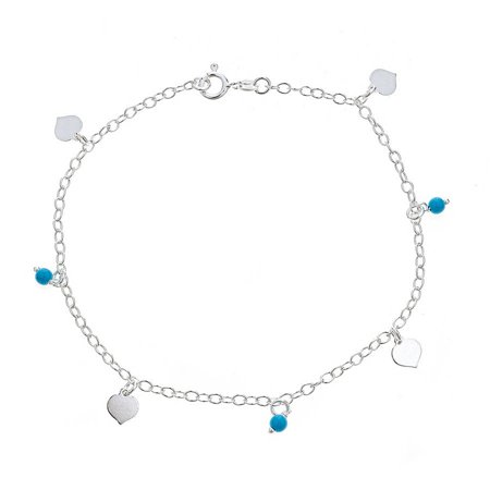 f334d11ca9 PORI JEWELERS - 925 Sterling Silver Rolo Chain Anklet with Dangling Hearts  and Turquoise Ball Charms - Walmart.com