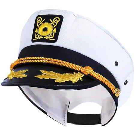 Sailor Captain Hat Halloween (Sailor Ship Yacht Boat Captain Hat Navy Marines Admiral Cap Hat White)