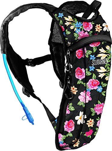 Climbing 2L Water Bladder Included for Festivals Running and More 2 Pocket Hiking Raves Biking Sojourner Rave Hydration Pack Backpack