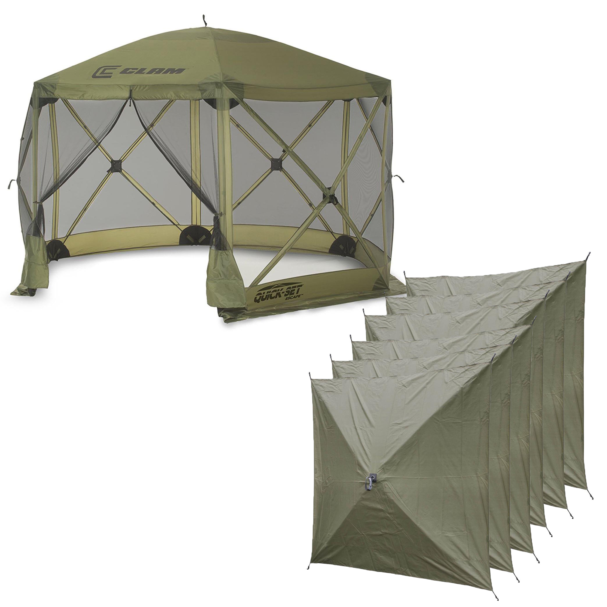 Clam Quick Set Escape Portable Camping Outdoor Canopy Screen & 6 Wind Panels