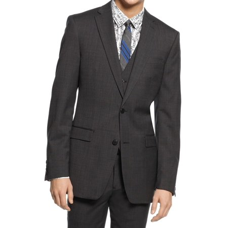 Bar III Mens Long Slim Fit Two Button Wool Blazer (3 Button Black Wool Suit)