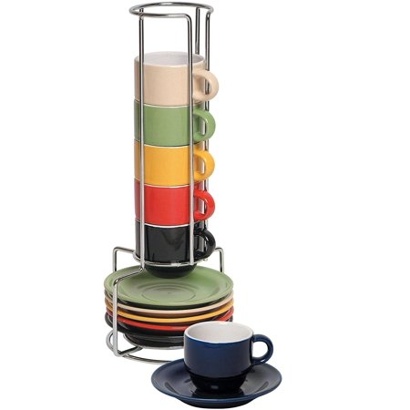 - Brand New Stoneware Ceramic Espresso Cups Set - 13 Pc Colorful Stacking Espresso Cup and Saucer Set w/ Rack, High-quality