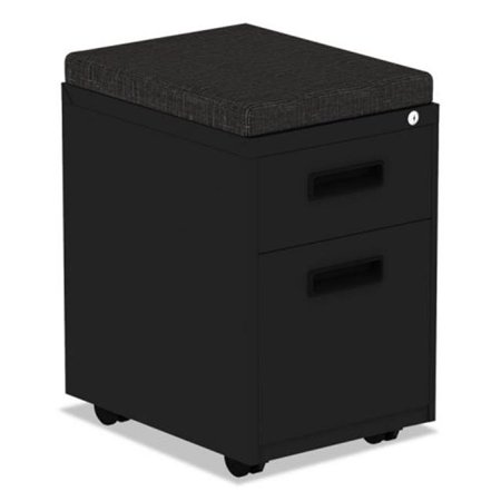 ALE Two-Drawer Metal Pedestal File with Full-Length Pull, Black Full Pull Utility Drawer