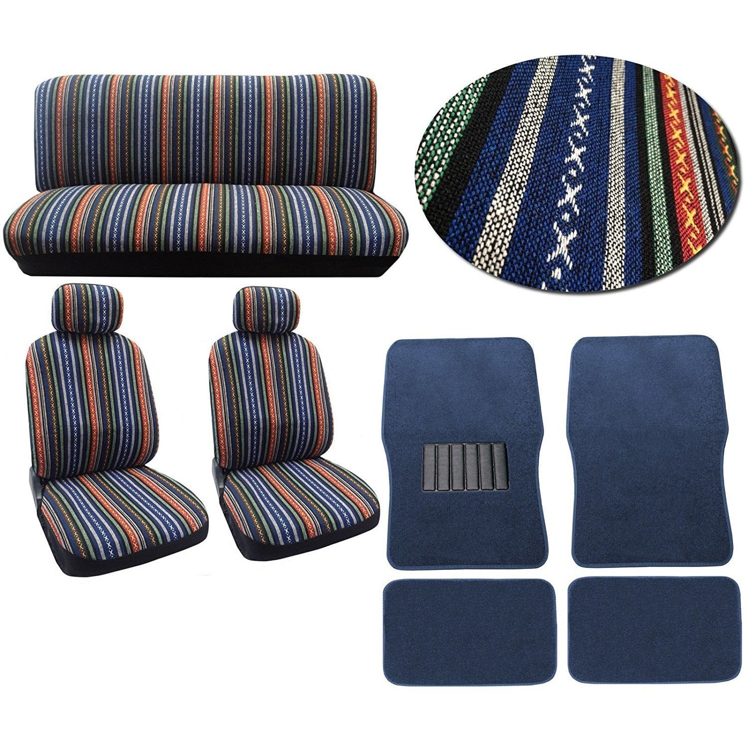 Unique Imports 12pc Car Seat Cover Set Striped Saddle Blanket Front Low Bucket