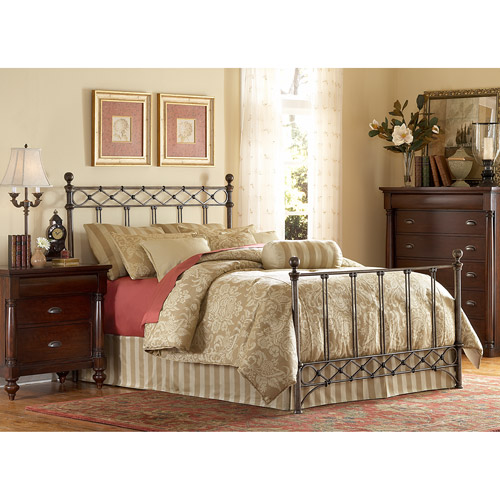 Leggett & Platt Fashion Bed Group Argyle Queen Bed, Copper Chrome with Queen/King Bed Frame