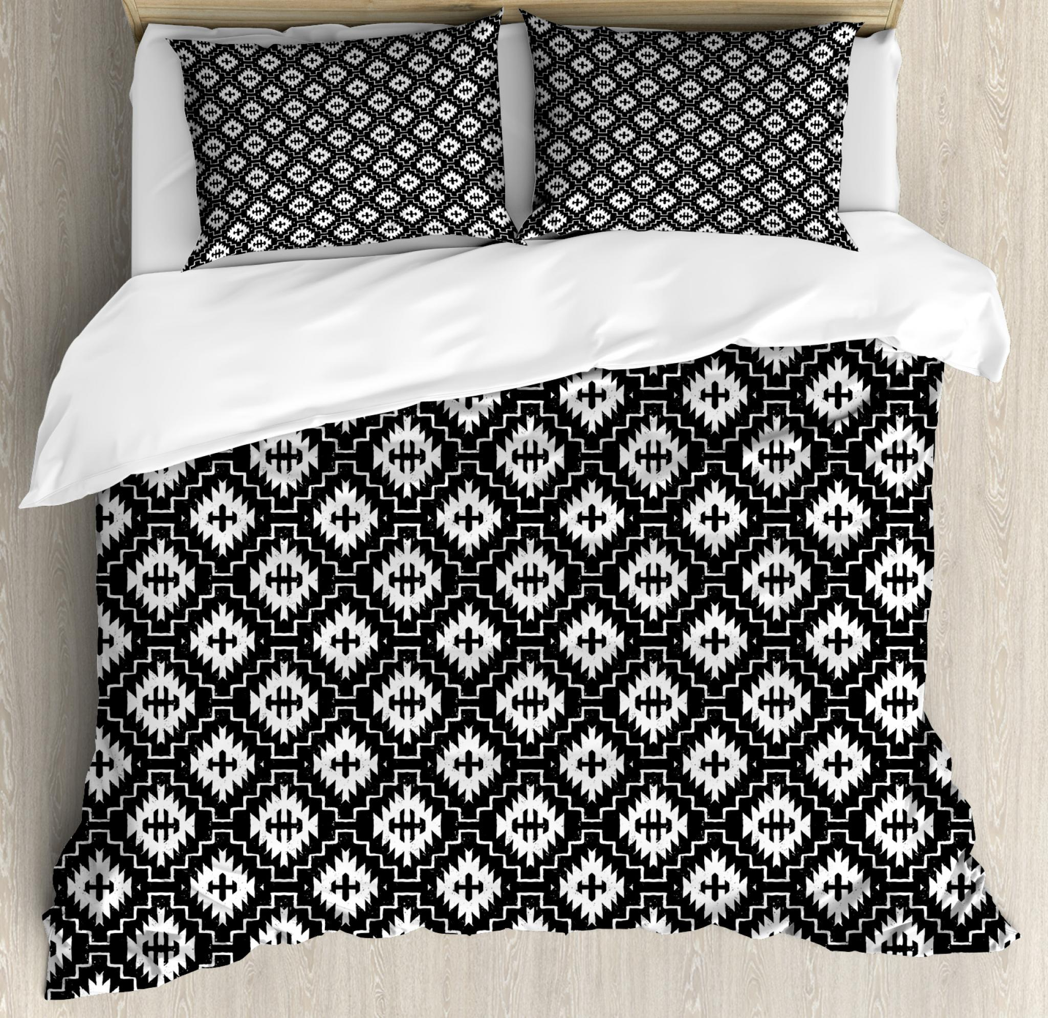 Aztec King Size Duvet Cover Set, Native Ornamental with Classic Victorian Damask Baroque Effects Ethnic Pattern, Decorative 3 Piece Bedding Set with 2 Pillow Shams, Black and White, by Ambesonne