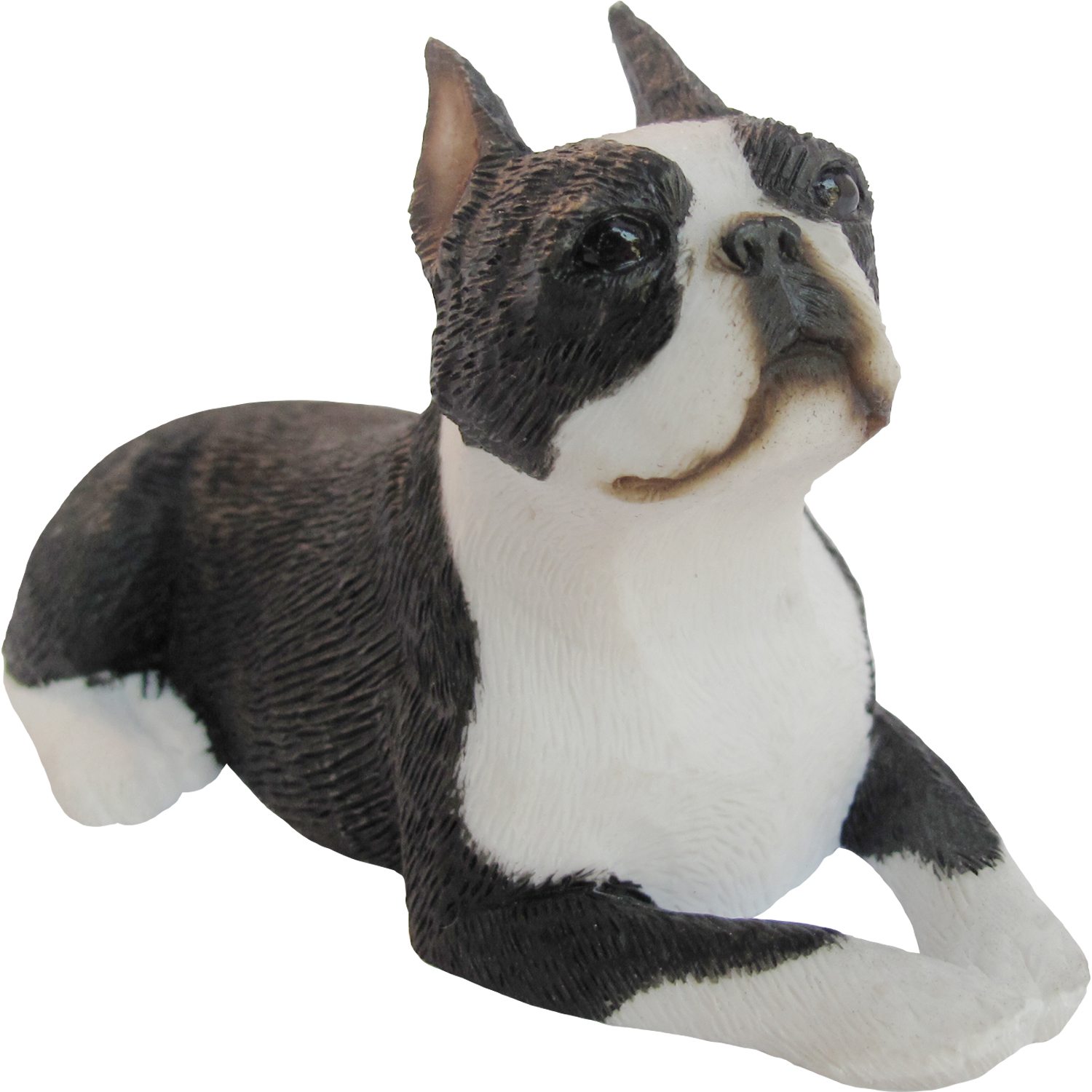 "Sandicast ""Small Size"" Lying Boston Terrier Dog Sculpture"