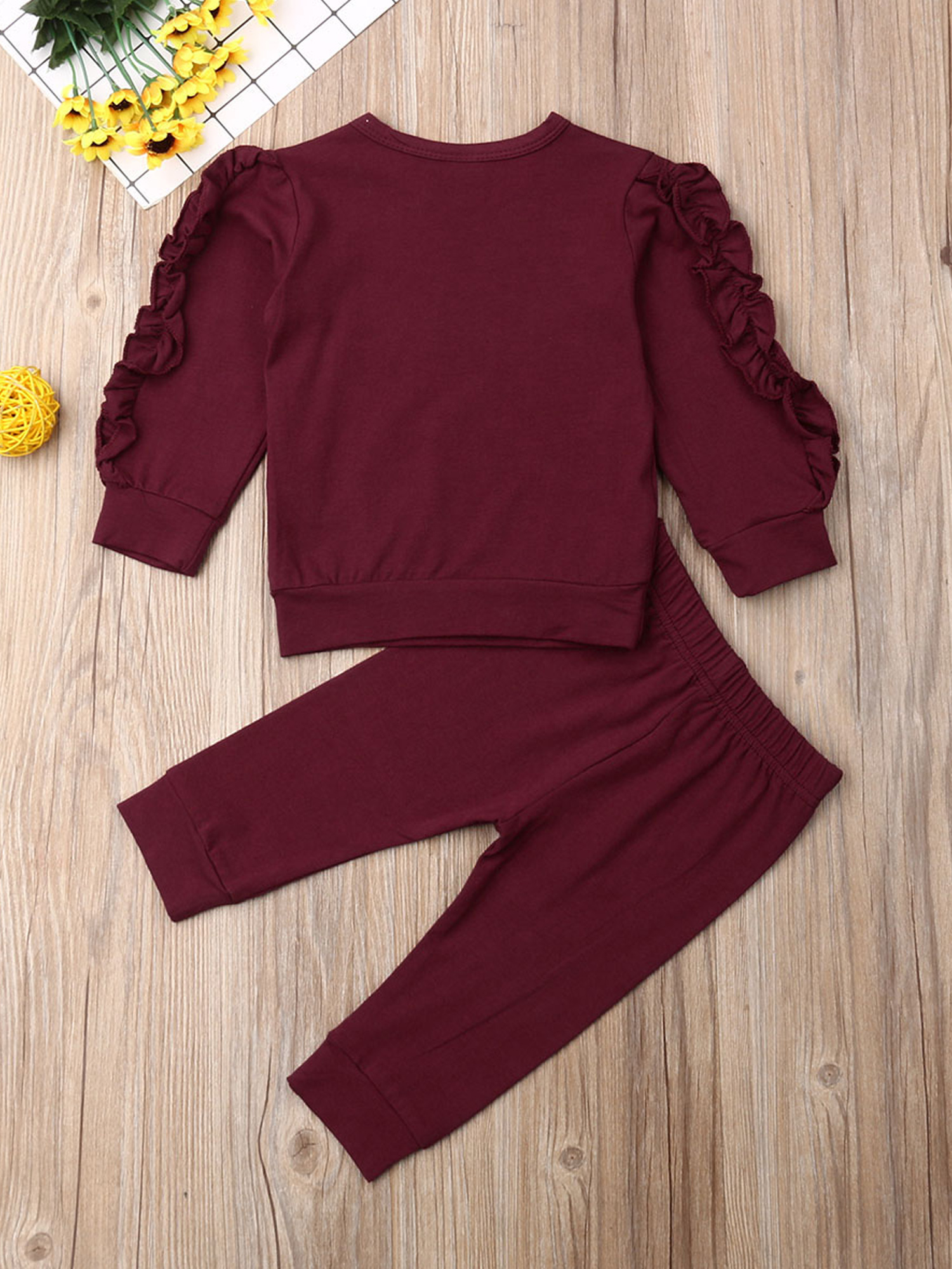for 1-6 Years Old Girls Clothes Set Toddler Baby Long Sleeve Ruffles Solid Pullover Tops T-Shirt Jeans Pants Outfits Set Clothes Kids Clothing Set Summer Set Comfy Cotton Elastic Loungewear 2pcs