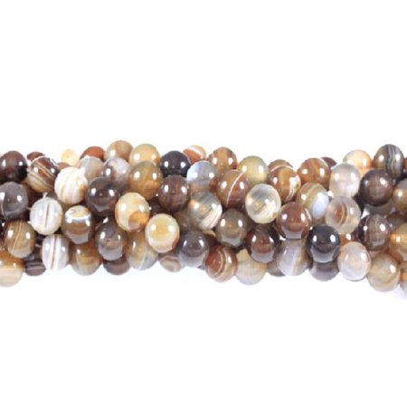 Brown Agate Sphere - 12mm Brown Striped Agate Round, Loose Beads, 40cm 15 inch Stone