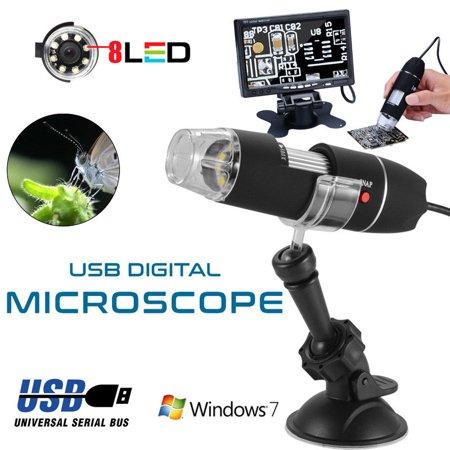 1000X 8 LED Zoom Digital USB Handheld Microscope PC Endoscope Camera Test  Black